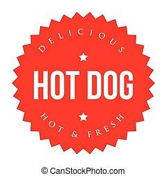 vendange, chaud, vecteur, chien, étiquette