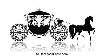 vendange, cheval, silhouette, voiture