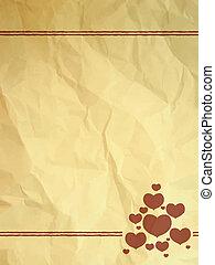 vendange, chiffonné, carte, cœurs