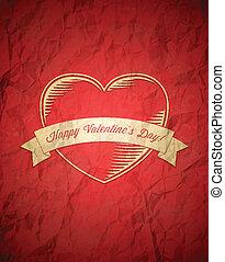 vendange, chiffonné, saint-valentin, carte
