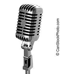 vendange, chrome-plaqué, microphone