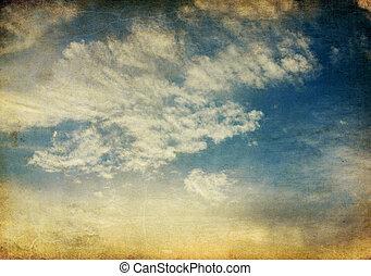 vendange, ciel, arrière-plan., coucher soleil, retro, tranquille