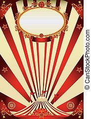 vendange, cirque, crème, rouges, affiche