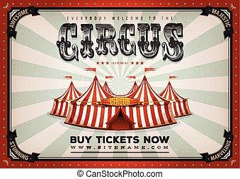 vendange, cirque, fond, affiche