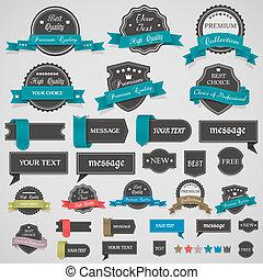 vendange, collection, rubans, étiquettes