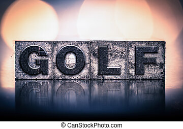 vendange, concept, golf, letterpress, type