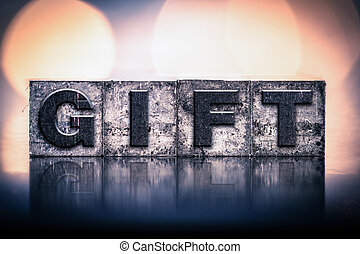 vendange, concept, type, cadeau, letterpress