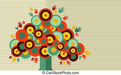 vendange, conception, coloré, arbre, main