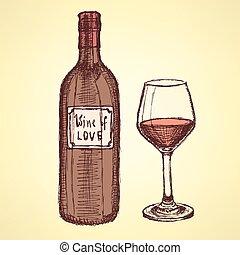 vendange, croquis, ensemble, style, vin