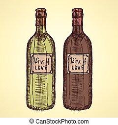 vendange, croquis, style, bouteille, vin