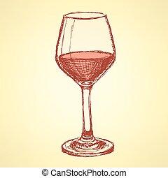 vendange, croquis, vigne, style, verre