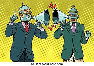 vendange, dialogue, entre, deux, robots