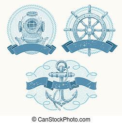 vendange, emblèmes, vecteur, nautique