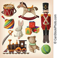 vendange, ensemble, coloré, jouets