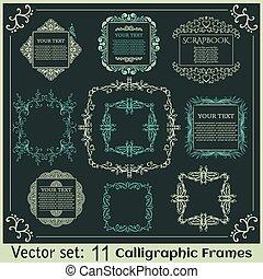 vendange, ensemble, frames., calligraphic