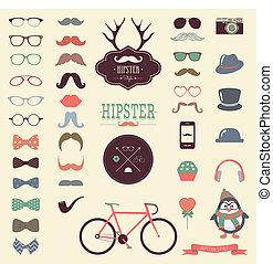 vendange, ensemble, hipster, retro, icône