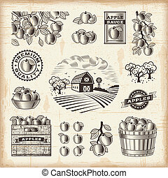 vendange, ensemble, récolte, pomme