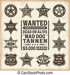 vendange, ensemble, shérif, insignes