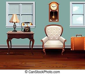 vendange, entiers, salle, meubles