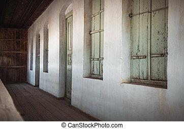 vendange, entrée, vieux, maison