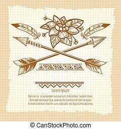 vendange, fleur, flèches, affiche