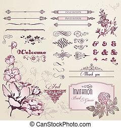 vendange, fleurs, ensemble, éléments