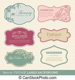 vendange, fond, beauté, étiquettes