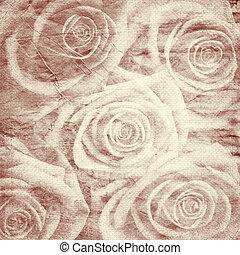 vendange, fond, roses, romantique
