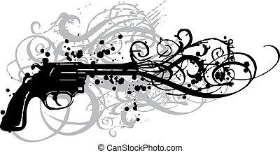 vendange, fusil, vecteur