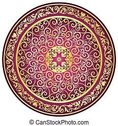vendange, gold-purple, rond, modèle