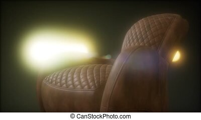 vendange, grunge, sofa, lutin, sombre, cuir