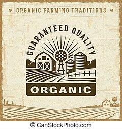 vendange, guaranteed, organique, qualité, étiquette