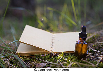 vendange, herbs., guérison, encore, livre, ouvert, vie
