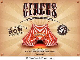 vendange, horizontal, cirque, vieux, affiche