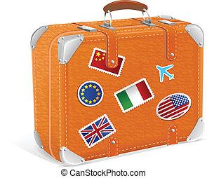 vendange, isolé, illustration, vecteur, valise, blanc