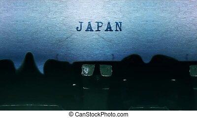vendange, japon, vieux, mots, dactylographie, feuille, typewriter., papier
