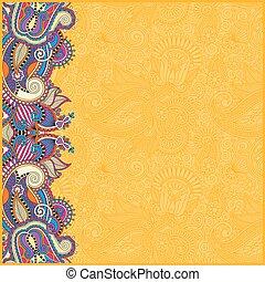 vendange, jaune, conception, fond, floral, ton