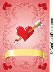 vendange, jour, carte, valentine