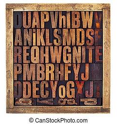vendange, lettres, letterpress, alphabet