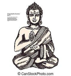 vendange, méditation, bouddha, illustration