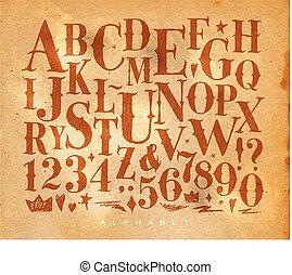 vendange, métier, gothique, alphabet