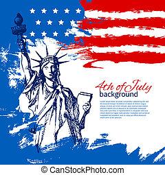 vendange, main, américain, 4ème, conception, fond, flag., dessiné, juillet, jour, indépendance