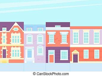 vendange, maisons, rue, vieux, town.