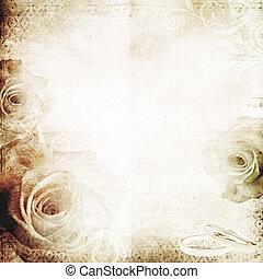 vendange, mariage, fond, roses
