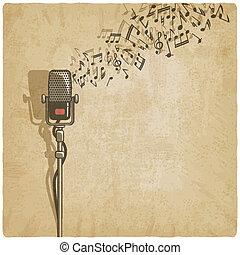 vendange, microphone, fond
