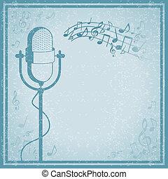 vendange, microphone, musique, fond