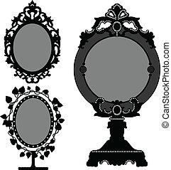 vendange, miroir, vieux, princesse, orné