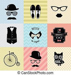 vendange, mode, hipster, fond, mignon