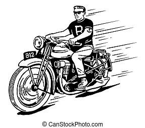 vendange, motocyclette, rebelle