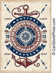 vendange, nautique, typographie, voyageur